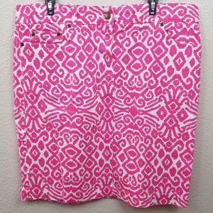 Jones New York Pink White Denim Skirt Size 14